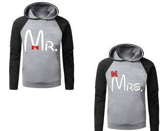 Two Color Hoodies for Couple All Disney Land MR. and MRS. Mickey Mouse Raglan Gray-Black Cotton Pullover Hooded Sweatshirt