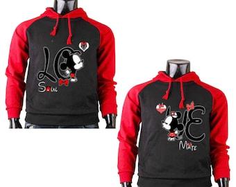 Two Color Hoodies for Men Mickey Mouse LO - Soul Part, Women Minnie Mouse VE - Mate Part Couple Match, Couple Match Raglan Cotton Hoodies