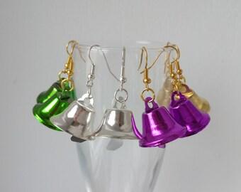 Earrings bells, Multicolored bells, Metal earrings, Bells, Fancy earrings, Gift for the girl, Fashion earrings, Ultra violet