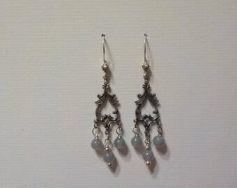 Blue/Gray Czech Bead Chandelier Earrings