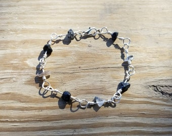 Black and Smokey Quartz Natural Stone Chip Wire Wrapped Link Bracelet