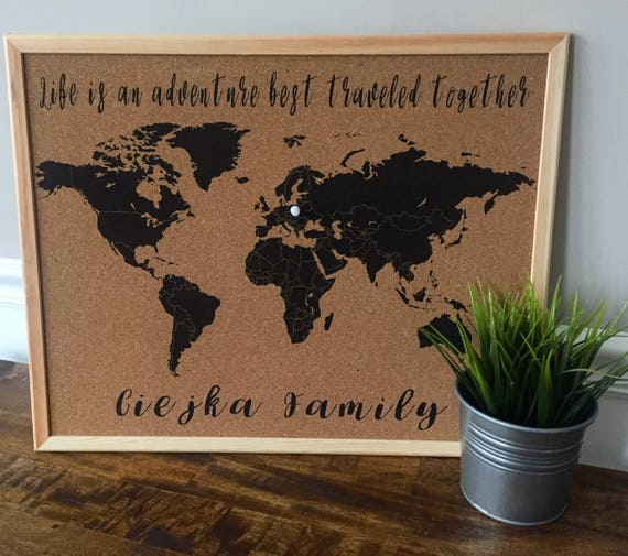 World map cork board with pinspersonalized with quote like this item gumiabroncs Choice Image