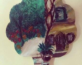 Unique Hand-painted wooden piece