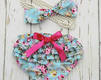 Aqua ann pink floral Girl Cake smash outfit