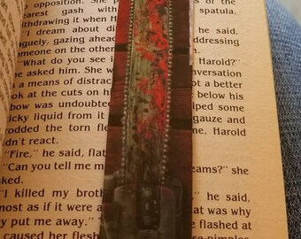 Horror bookmark, bloody chainsaw, Texas Chainsaw Massacre. Hand made!