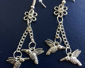 Hummingbird & Flower Earrings