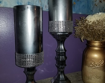 Set of 2 Silver Mirror Like Candle Holders or Home Decor