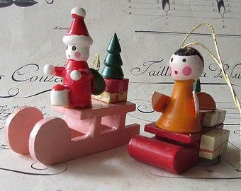 Germany Christmas Ornaments Vintage Wooden Wood German Angel Santa Sleighs Set Of 2