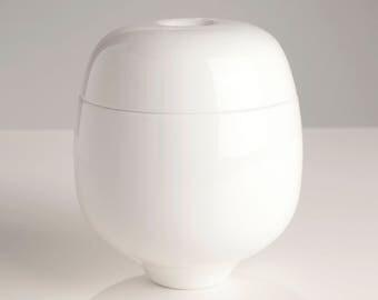 Handmade White Elem Sugar Bowl