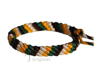 Gold/Green/Chocolate/Wheat Bamboo Yarn Diagonal Surfer Bracelet or Anklet