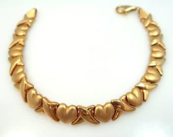10k Gold Hugs & Kisses Heart Motif Bracelet