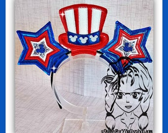 Uncle SaM INDePENDENCE Day Character (3 Piece) Mr Miss Mouse Ears Headband ~ In the Hoop ~ Downloadable DiGiTaL Machine Emb Design by Carrie