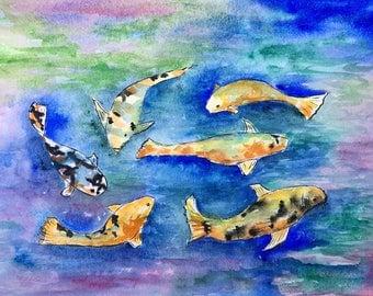 Fish Pond Original Watercolor