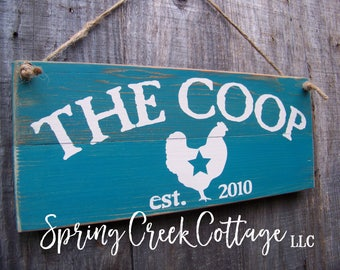 The Coop, Rustic, Farmhouse Kitchen, Established Sign, Chicken Coop Sign, Handpainted, Modern Rustic, Barn, Chicken Decor, Home Decor, Gifts