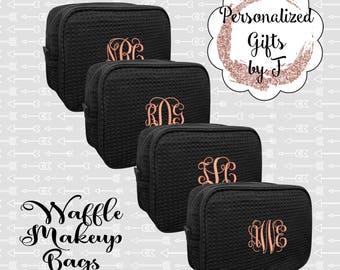 Set of 3, 4, 5, 6 Bridesmaid Makeup Bag, Bridesmaid Cosmetic Waffle Bag, Bridesmaid Bag, Monogrammed Bag, Personalized Bridal Party Gift