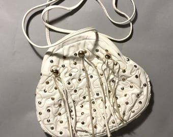 White LEATHER Fringed Cross Body Purse, 80s Studded Leather CLUTCH Bag