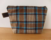 Vintage 1970 Wool Plaid and Leather Large Zipper Pouch Bag