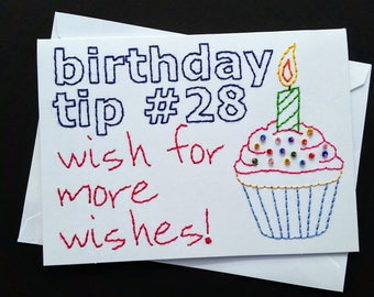 birthday tip #28 hand-embroidered card