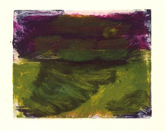 Print Study #4 - small monoprint on somerset printing paper in purple and yellow green
