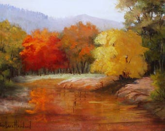 Fall Landscape, oils on canvas, original oil painting,Barbara Haviland