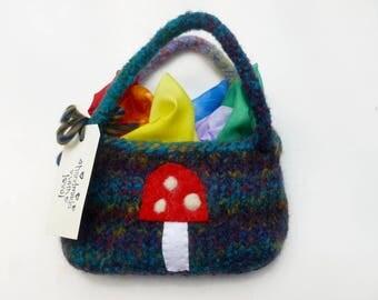 Play silks fairy silks felted pouch set Waldorf inspired Rainbow silks ready to ship