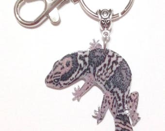 Handcrafted Plastic African Fat-tailed Gecko Lizard Reptile Keyring Key FOB Purse Charm