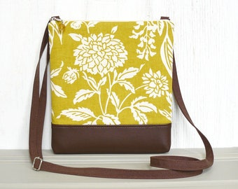 Zipper Crossbody Bag, Cross Body Purse, Small Hip Bag, Sling Purse - Wildflower Field in Cream, Chartreuse and Brown