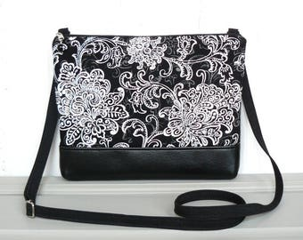 Crossbody Bag, Fabric Hip Purse, Zipper Cross Body Purse - Filigree Flourish in Black, White and Gray
