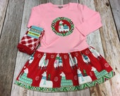 Girls Christmas Outfit-Applique Holiday Frock with Chri...