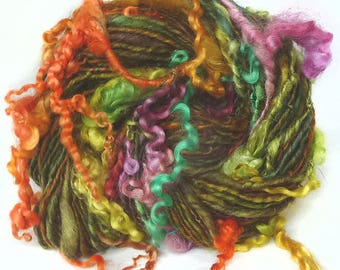 Handspun Art Yarn hand spun handdyed BFL wool & Wensleydale locks, curly yarn, tailspun, textured, curls