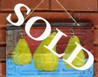 SOLD----------------Pears, Painting, Vintage Tin, Kitchen, Pear Painting, Garden, Patio Decor, Home Decor,, Wall Hanging, Wall Art, Winjimir
