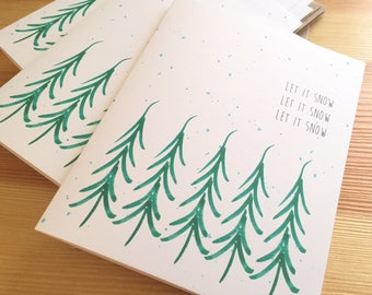 Let It Snow Holiday Cards - Watercolor Christmas Tree Holiday Cards - Tree and Snow Holiday Cards  - Set of 6