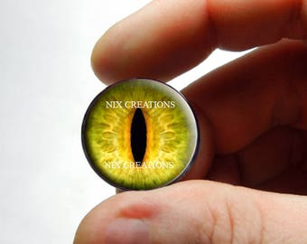 Glass Eyes - Yellow Dragon Glass Taxidermy Eyes Cabochons - Pair or Single - You Choose Size