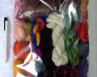 6.5oz Fiber project bag, wool roving, silk roving, spinning fiber, felting fiber, dolls hair, merino wool roving, colour mix, fiber mix,185g