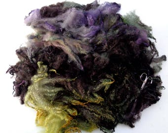 2.6oz Bluefaced Leicester curly fleece wool, curls, locks, felting wool, dolls hair, hand painted fleece, spinning fiber,autumn colours, 75g