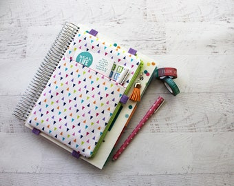 Happy planner cover - planner pen band - rainbow planner cover -  planner accessories pouch - planner bag - cute planner accessories