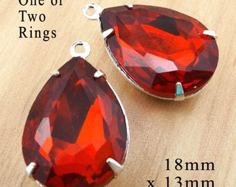Red Glass Beads - 18x13 Teardrop - Red Earrings or Pendants - 18mm x 13mm Rhinestones - Jewelry Supply - Set Stones - One Pair