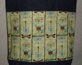 New Medium Handmade Dragonfly Squares Nature Denim Tote Bag