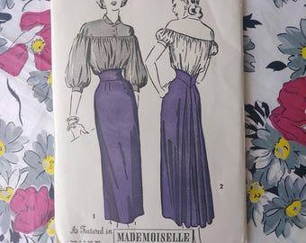Vintage 1940s Pattern Advance 4929 40s Skirt Large Sleeves B32 W26.5