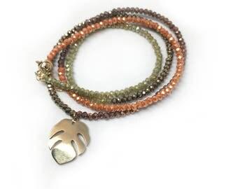Tropical Monstera leaf beaded necklace / wrap bracelet
