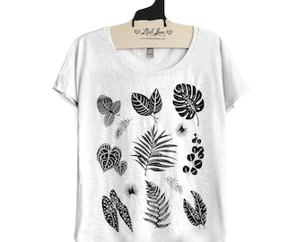 SALE Small-  Tri-Blend Heather White Dolman Tee with Plant Leaves Screen Print