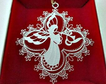 Filigree Angel Ornament in Original Box / Winterlace Angel Vintage Christmas Ornament