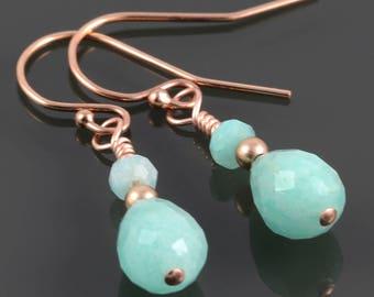 Amazonite Earrings. Rose Gold-Filled Ear Wires. Genuine Gemstone. f17e033