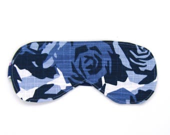 Sleeping Eye Mask / Night Eye Mask / Travel Eye Mask / Sleep Mask - Idigo Blue Geometric Floral