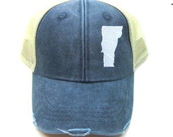 Clearance - Sale - Gift - Gracie Designs Hat - Vermont white on Navy Snapback Hat