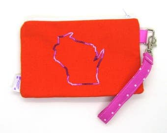 Clearance - Sale - Gift - Gracie Designs Wristlet - Pink and orange Wisconsin