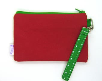 Clearance - Sale - Gift - Gracie Designs Wristlet - Red and Green Christmas Wristlet