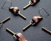 Geometric leather earrings modern teardrop earrings leather bar earrings dangle drop earrings long pink tan gold chain brass -Paige Earrings