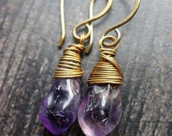Free Form Amethyst Shard Earrings