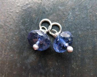 Faceted Iolite Bead Charms - 1 pair - 12mm